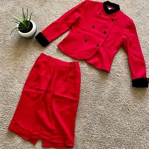 Jennifer Moore suit jacket and skirt red Wool